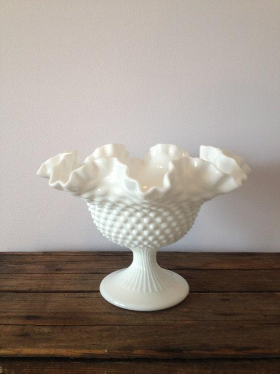 Vintage Fenton White Hobnail Milk Glass Pedestal Bowl