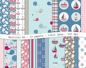 Nautical No. 4  digital scrapbooking paper pack -19 printable pink, blue & brown jpeg papers, 12x12, 300 dpi - instant download