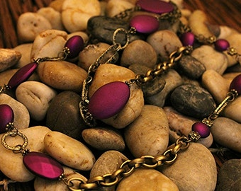 Antique Gold Chain with matte finish  Beads in Fuchsia, Blue, Brown, and Green- Timeless