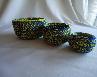 Set of Three Crochet Nested Bowls in Blue and Yellow