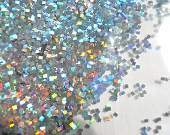 Holographic Silver Glitter 1 Ounce Medium Square Cut Nail Art Glitter Festival Glitter