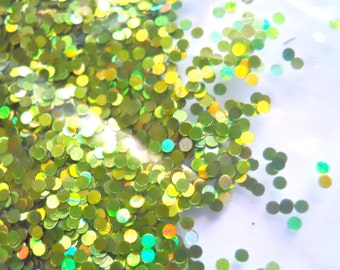 SALE Holographic Lime Dots 1mm Glitter 1 Ounce Circles Small Glitter Frankening Nail Polish Supply