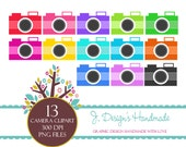 INSTANT DOWNLOAD Personal and Commercial Use - Digital Embellishment - Digital Art - Colorful Cameras - ClipArt