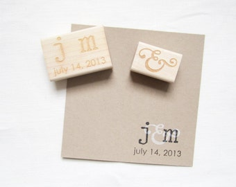 Wedding Stamp Set - Wedding Monogram Stamp Set with Initials and Date - H2000