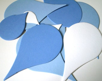 50 Die Cut Raindrops in Blue and White, Teal