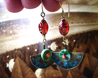 Unique Art Deco, Egyptian Revival inspired Earrings 2 .5inch drop