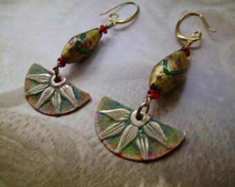 Brass Verdigris Egyptian Style Earrings 2.5inch