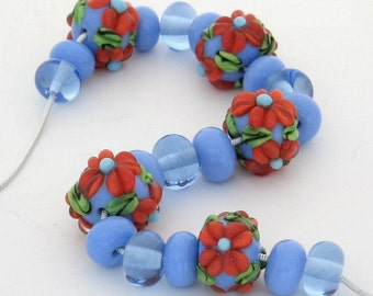 Lampwork Glass Beads Handmade. Lampwork Flower Set. Ready to Ship.