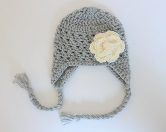 Baby Girl Crochet Hat- Gray with Cream Flower