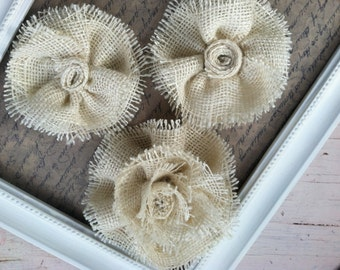 Cream rustic burlap flowers