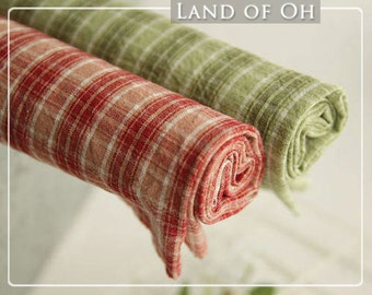 Prewashed Plaid Cotton Fabric in 2 Colors per Yard 31975