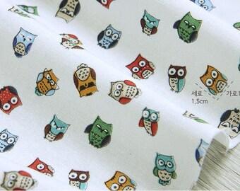 Mini Owls Cotton Fabric - White - per Yard 36104 - 179