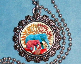 Blue and Pink Elephants Art Pendant, Necklace Resin Art Picture Pendant, Photo Charm, Handcrafted Jewelry by YessiJewels