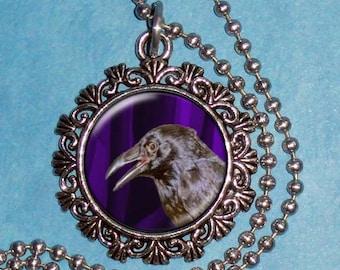 Raven Crow Art Pendant, Corvus Resin Pendant, Black Bird Photography Art, Photo Pendant Charm