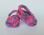 Baby Girl Sandals   Bright Pink And Purple Crochet 3 To 6 Month Infant Summer Booties