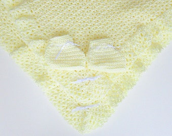 Light Pastel Yellow Baby Blanket  With Booties Infant Girl  Afghan And Slippers  Newborn Boy Shower Gift Baptism  Set Ready To Ship