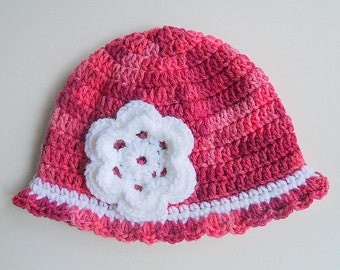 Ready To Ship Newborn Baby To 2 3 4  5 Years Toddler Pink Hat With White Flower 6 9 Months Girl Beanie  Infant Cap  Winter Cloche
