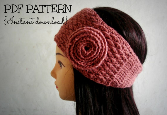 Crochet pattern, crochet textured headband, earwarmer, adult size, PDF instand download, Pattern No. 52