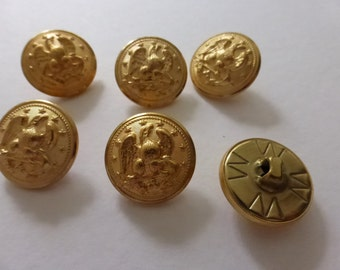 6 Vintage Brass Eagle With Arrow Buttons from Waterbury B392