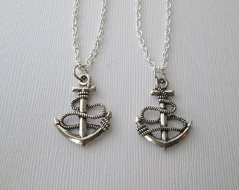 2 Wrapped Anchor, Best Friends Necklaces