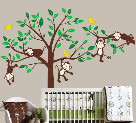 monkey wall decals kids animal stickers jungle by arthomedecals. Black Bedroom Furniture Sets. Home Design Ideas