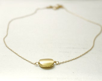 Gold disc necklace - circle lentil on gold filled chain - modern minimal jewelry