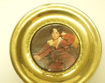 Vintage Brass Plate wall hanging with picture under glass
