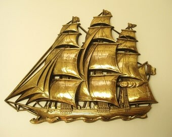 Vintage Gold plastic Ship Nautical Sailboat wall hanging