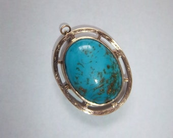 Silver and Turquoise Dual Brooch or Pendant Cabochon with Gold Flecks