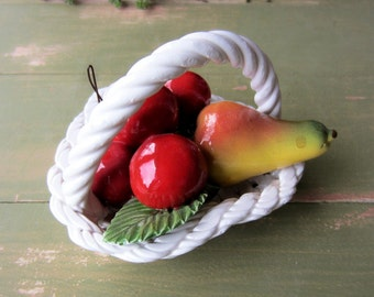 Vintage Italy CAPODIMONTE Basket Weave Heart Shaped Fruit Bowl  Red Cherries