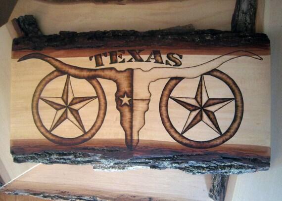Texas Longhorn Decor Rustic Cowboy Wood Art Decoration