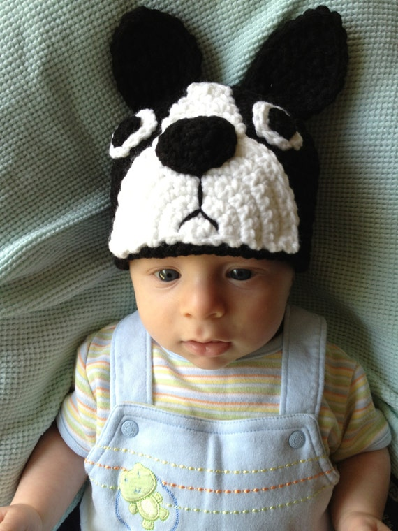 SALE! Custom Made Boston Terrier Crocheted Hat, Boston Terrier Hat, Dog Hat --You Pick Size- Photo Prop