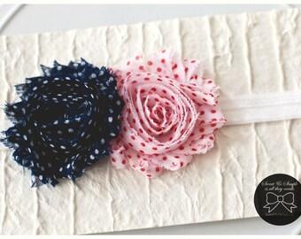 Baby Headband, navy blue polka dot, red and white polka dot rosette headband, white elastic headband, infant headband, newborn headband