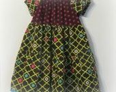 Girl's Dress, Size 5, lime green, hot pink, and brown corduroy dress, Peasant Dress, handmade tiered dress, Autumn dress, Girl's clothes