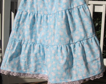 Girl's Tiered Skirt - Easter Twirly Skirt - Handmade ruffled skirt with pink lace - Girl's clothes - girls fashion - Modest skirt - Size 8