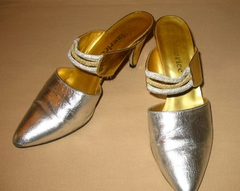 Vintage Shoes, Silver Shoes, Gold Shoes, Slip On Shoes, Evening Shoes, Metallic Shoes, Silver & Gold Disco Shoes, Vintage 1980s - 70s Shoes