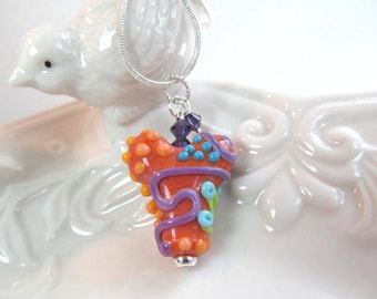 Necklace heart orange multi glass art lampwork bead with crystals