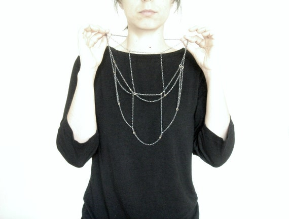 RESERVED to Lana _ Sterling Silver Multi Chain Necklace.  Black interchangeable necklace.