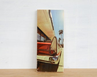 Vintage Red Car Image Transfer Art Block - 'Red Tail Fin' by Patrick Lajoie, vintage car