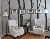 Birch Tree Forest with 6 tree designs Vinyl Wall Decal see pictures for tree dimensions   45 x 240cm  / 17 x 94 inches