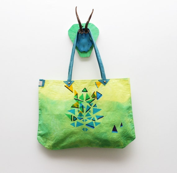 50% off M Y  M A T H  / Yellow/ Blue/ Green cotton and leather tote bag - back to school sale