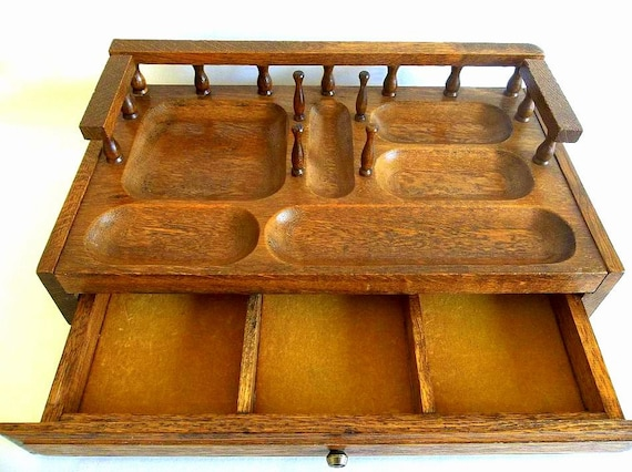 Vintage Men S Solid Wood Dresser Valet Desk Organizer