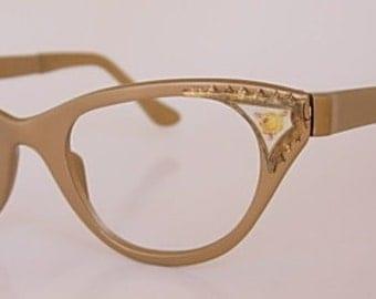 Tura Cat Eye Vintage Eyeglass Frames (NOS) New Old Stock Yellow Rose Guilloche Enamel Flowers Brass Tan Gold Satin Finish Aluminum 1950s