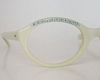 Vintage Marine Frames Pearlized White Lucite or Plastic Adorned with Light Blue Rhinestones Cat Eyeglasses New Old Stock (NOS) Eyewear 1960s