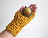 Knit Wrist Warmers in Yellow Knit Mittens Fingerless gloves Knitted Arm Warmers Hand Muffs Wrists Muffs Alpaca Wool Yellow