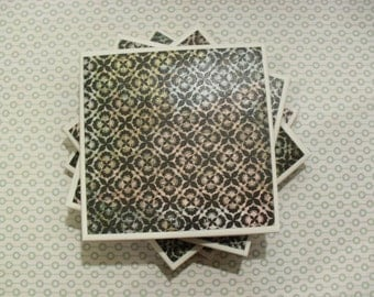 Coasters Black and Multicolored, Lace Doily Pattern, Felt-Backed, Tile, Set of Four