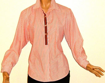 Pin Striped Vintage Blouse,  Red and White Ruffled, Ribbon and Button Bows-FREE SHIPPING