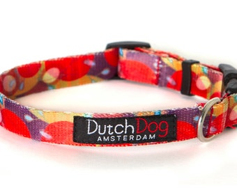 """Ruby Harvest - Dog collar from recycled webbing  - Size S (10-15""""), 5/8"""" wide"""