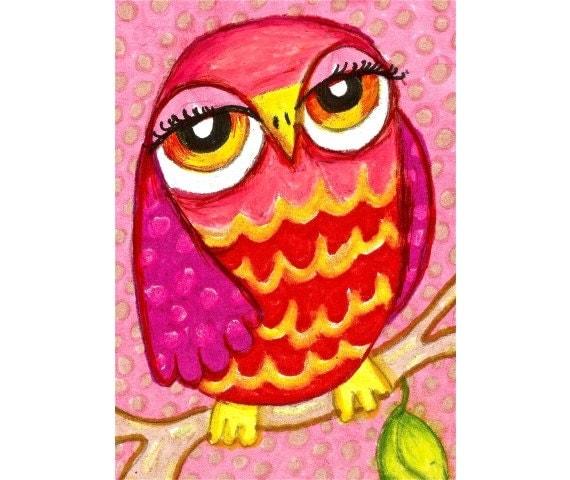 Pink Owl Art Print Girls Room Decor Kids Wall Art Owl Art