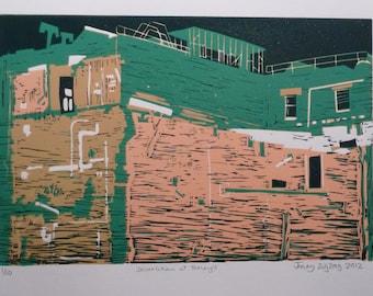 Demolition at Tetley's Leeds lino print